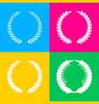 laurel wreath sign four styles of icon on four vector image vector image