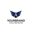 letter a wing logo design concept template vector image