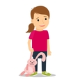 Little girl with pink bunny vector image