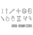 Mouse click hand drawn icons vector image vector image