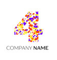 number four logo with purple yellow particles vector image vector image
