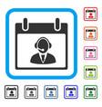 reception operator calendar day framed icon vector image