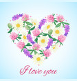 romantic card with floral heart vector image vector image