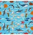 Sea animals seamless pattern with waves vector image vector image
