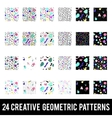 Set of creative geometric patterns Memphis style vector image