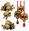 set of human skulls hanging on red rope with vector image