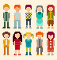 set of pixel art style characters vector image vector image