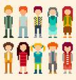 set pixel art style characters vector image vector image