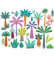 set various abstract decorative palms vector image vector image