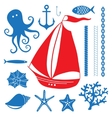 Silhouette Sea - Hand drawn set of sea symbols vector image vector image