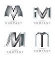 Silver letter M logo vector image vector image