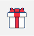 square gift box with red ribbon and bow vector image vector image