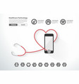 stethoscope heart with smartphone creative design vector image vector image