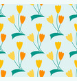 symbolic line art flower seamless pattern vector image