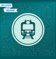 train icon on a green background with arrows in vector image