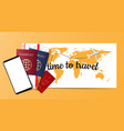 travel concept background passport boarding vector image vector image