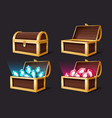 treasure chest closed and open chests with vector image