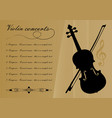 violin concerts program template with black violin vector image vector image
