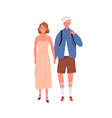 walking happy modern young people holding hands vector image vector image