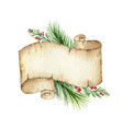 watercolor christmas old scroll paper with vector image vector image