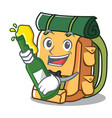 with beer backpack mascot cartoon style vector image