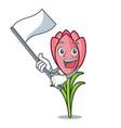 with flag crocus flower mascot cartoon vector image vector image