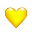 yellow love heart on a white isolated background vector image vector image
