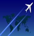 Airplane on sky and map vector image