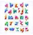 polygonal font alphabet vector image