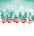 baby girls on Winter forest background vector image vector image