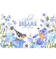 blue flower bird banner vector image