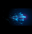 blue light speed background with lines dot vector image vector image