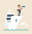 businessman with telescope on ship business goal vector image vector image