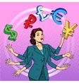 businesswoman juggling money business concept vector image