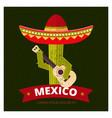 cactus in sombrero vector image vector image