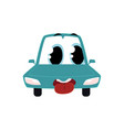 cartoon comic style car character wih human face vector image vector image