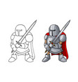 cartoon medieval confident knight with broad sword vector image vector image