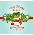 Christmas tree garland holiday poster design vector image