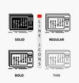console dj mixer music studio icon in thin vector image