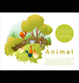 Cute animal family background with Chickens 2 vector image