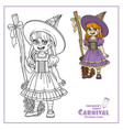 cute girl in witch costume color and outlined vector image vector image