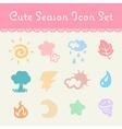 cute pastel season and element cartoon icon set vector image