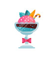 delicious ice cream decorated with berries and vector image