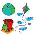 drawn picture with summer stuff vector image vector image