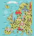 europe map with famous landmarks vector image