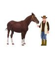 farmer holding a horse vector image vector image