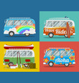 four hippie vans vector image