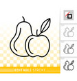 fruit organic simple black line icon vector image
