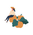 girl gathering pumpkins flat vector image