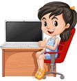 Girl working on computer vector image